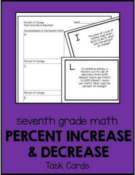 7th Grade Math Percent of Change Task Cards