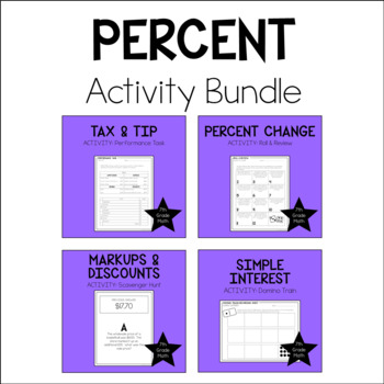 7th Grade Math Percents Activity Bundle