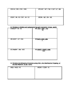 7th Grade Math Polynomial Test