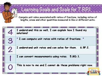 7th Grade Math Posters (7 RP 1-3) with Marzano Scales - FREE