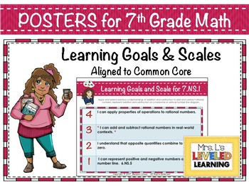 7th Grade Math Posters with Learning Goals and Scales - Aligned to Common Core