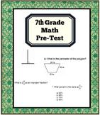 7th Grade Math Pre-Test