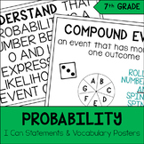 7th Grade Math Probability I Can & Vocabulary Posters