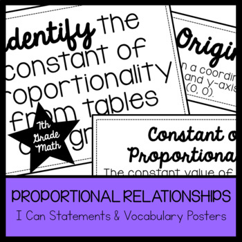 7th Grade Math Proportional Relationships I Cans & Vocabulary Posters