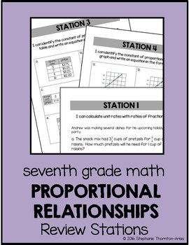 7th Grade Math Proportional Relationships Review Stations