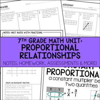 7th Grade Math Proportional Relationships Unit Resources