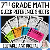 7th Grade Math Quick Reference Sheets - Great for Distance