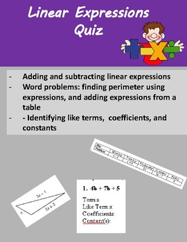 Linear Expressions Quiz