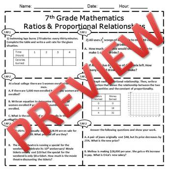 7th Grade Math Ratios & Proportional Relationships Assessment/Exam/Test/Review