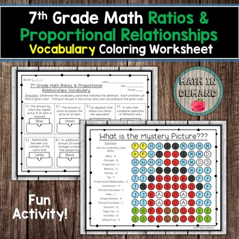 7th Grade Math Ratios Proportional Vocabulary Coloring Worksheet