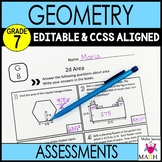 Geometry Assessments 7th Grade Math Common Core EDITABLE