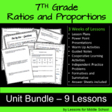 7th Grade Math: Ratios and Proportions Unit - Bundle of 9 Lessons, 250 pages