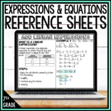 7th Grade Math Reference Sheets - Expressions and Equation