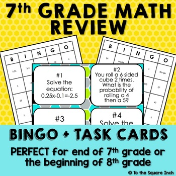 This is a picture of Sassy 7th Grade Math Bingo Printable