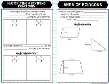 7th Grade Math Review Booklet