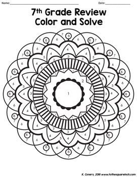 7th Grade Math Review Color and Solve