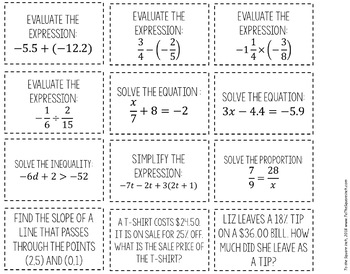 7th Grade Math Review Game