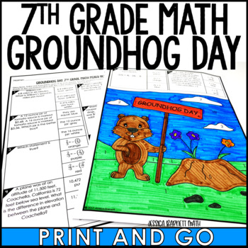7th Grade Math Review Groundhog Day Coloring Activity