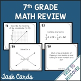 7th Grade Math Review Task Cards