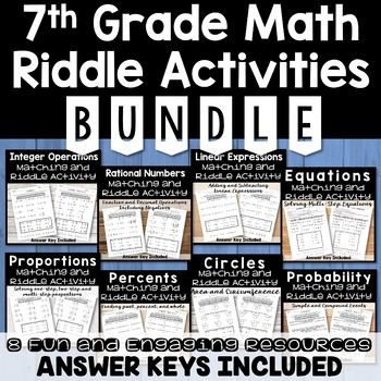 7th Grade Math Riddle Activities BUNDLE