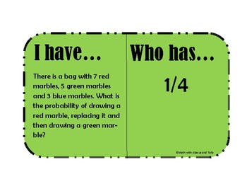 7th Grade Math STAAR Mixed Review- I have, Who has