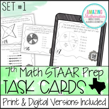 7th Grade Math STAAR Review & Prep - Task Cards (Set #1)