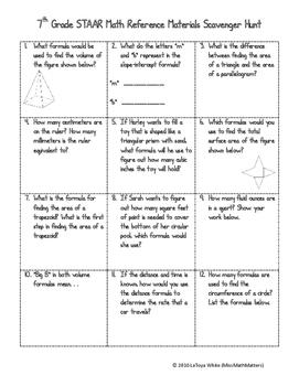 7th Grade Math STAAR Reference Sheet Scavenger Hunt
