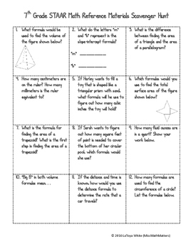 7th grade math staar reference sheet scavenger hunt by missmathmatters