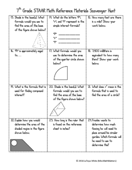 7th Grade Math STAAR Reference Sheet Scavenger Hunt