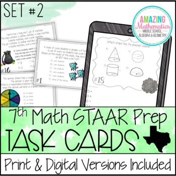 7th Grade Math STAAR Review & Prep - Task Cards (Set #2)