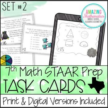 7th Grade Math STAAR Review & Prep - Task Cards (Set #2 ...