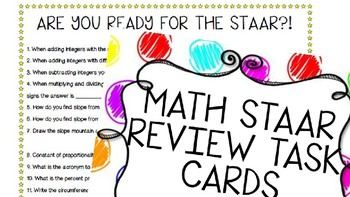 7th Grade Math STAAR Review Quiz and Task Cards- TEKS