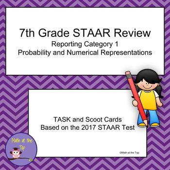 7th Grade Math STAAR Review Reporting Category 1 Task/Scoot Cards - 2017 STAAR