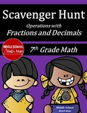 7th Grade Math Scavenger Hunt Operations with Fractions and Decimals