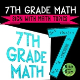 7th Grade Math Sign Classroom Decor