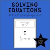 7th Grade Math Solving Equations Scavenger Hunt