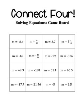 7th Grade Math Solving Equations Connect Four Game