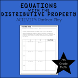 7th Grade Math Solving Equations with the Distributive Property Activity