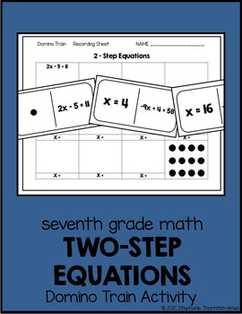 7th Grade Math Solving Two-Step Equations Domino Train Activity