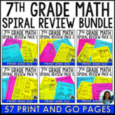 7th Grade Math Spiral Review Packet