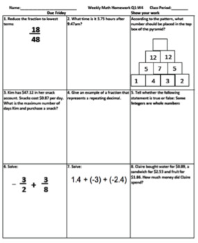 7th Grade Math Spiral Review Practice Texas TEKS