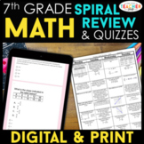 7th Grade Math Spiral Review & Quizzes | DIGITAL & PRINT