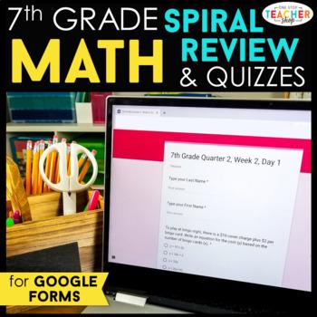 7th Grade Math Spiral Review DIGITAL | Google Classroom | Distance Learning