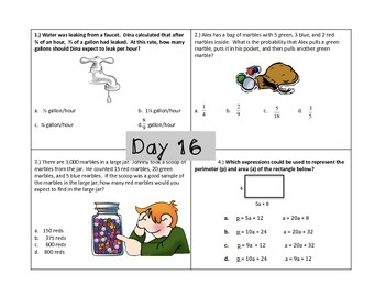 7th Grade Math Spiraled Review ~ 20 days of review