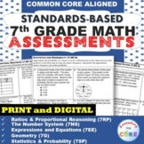 7th Grade Math Standard Based Assessments BUNDLE Common Core ⭐ Distance Learning