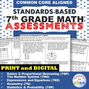 7th Grade Math Standards Based Assessments * All Standards