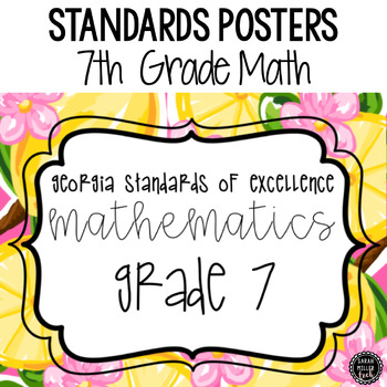7th GA Grade Math Standards Posters: Preppy Theme