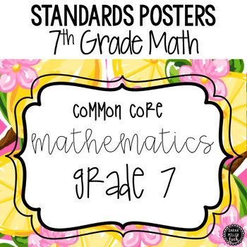 7th Grade Math Standards Posters: Preppy Theme