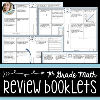 7th Grade Math Standards Review Booklets
