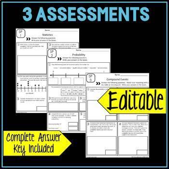 7th Grade Math Statistics and Probability Common Core Mini Assessments